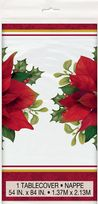 Holly Poinsettia Plastic Table Cover